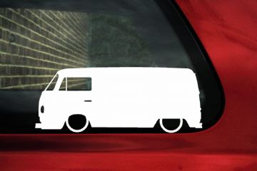 2x Low car outline stickers - for Volkswagen T2 Transporter Van Bay-Window